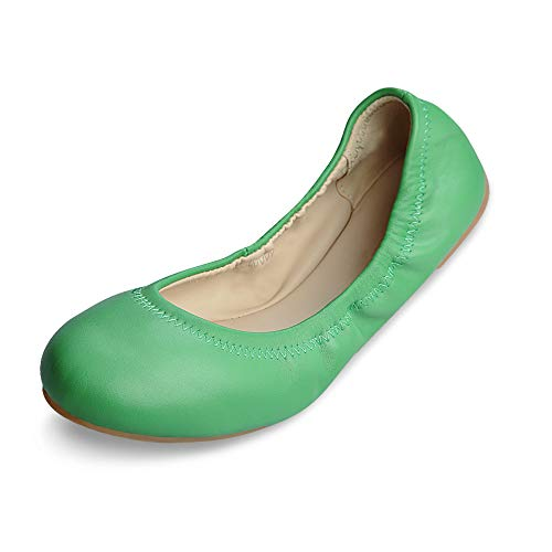 Xielong Women's Chaste Ballet Flat Lambskin Loafers Casual Ladies Shoes Leather Green Mirror 8.5