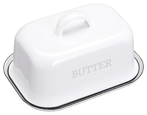 Kitchencraft - Living Nostalgia - plato para mantequilla con tapa estilo esmalte –color blanco/gris