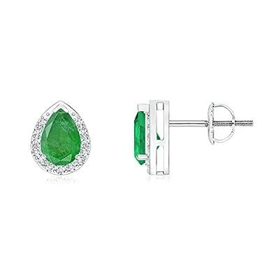 Angara Pear-Shaped Citrine Stud Earrings with Diamond Halo mtLGSv