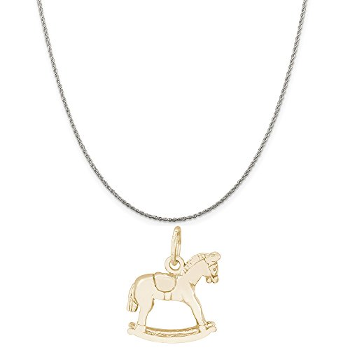 (Rembrandt Charms Two-Tone Sterling Silver Rocking Horse Charm on a Sterling Silver Rope Chain Necklace, 20