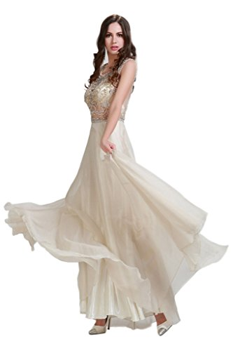 HarveyBridal Crystal A-line Tank Top Sheer Chiffon Prom Dress Champagne