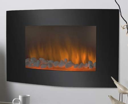 Cheap Wall Mount Fireplace Electric Fireplace Heater- Black Glass 35 Inch 750W/1500W with Remote Control - Warm Cozy Touch in Your Home Black Friday & Cyber Monday 2019