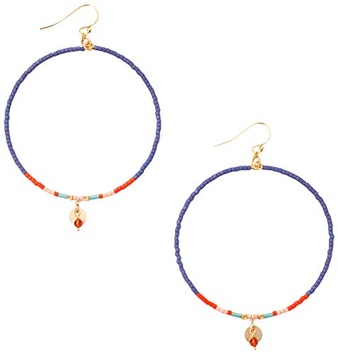 (Chan Luu Multi Color Seed Bead with Gold Tone Discs Euro Wire Hoop Earrings (Blue Mix))