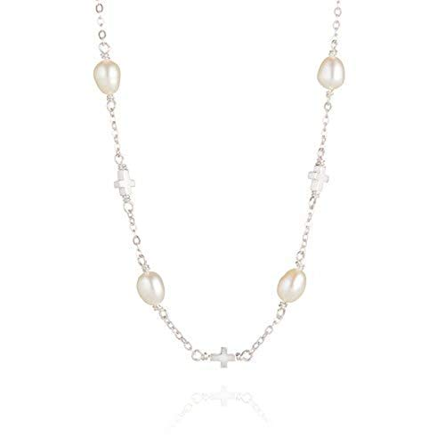 - Baby Girl's Sterling Silver Holy Communion Freshwater Pearl Station & Cross Necklace Arrives with Luxury Jewelry Gift Box