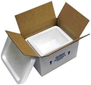 "product image for Small Foam Insulated Carton with Foam Shipper, 4 Quarts, 8"" x 6"" x 4.25"", 1.5"" Wall Thickness - (Case of 6)"