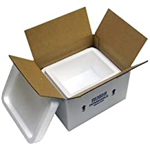 """Small Foam Insulated Carton with Foam Shipper, 4 Quarts, 8"""" x 6"""" x 4.25"""", 1.5"""" Wall Thickness - (Case of 4)"""