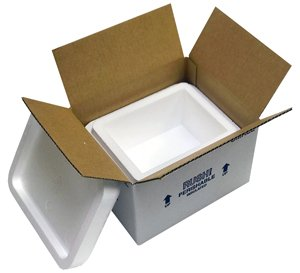 "Small Foam Cooler Insulated Carton with Foam Shipper 4 Quarts, 8"" x 6"" x 4.25"", 1.5'' Wall Thickness - (Case of 8)"