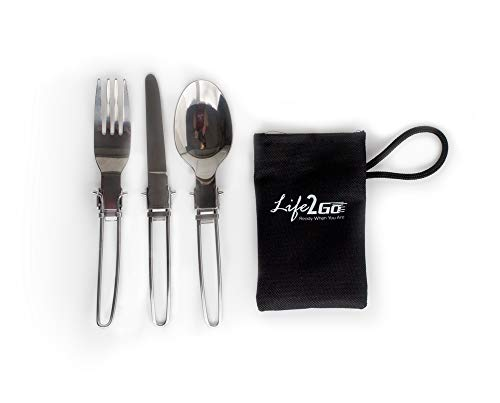 - LIFE 2 GO 3-Piece Stainless Steel Folding Utensil Set/Silverware with Storage Case Includes a Fork, Spoon, and Knife and is Portable, Lightweight with a Strong and Compact Design.