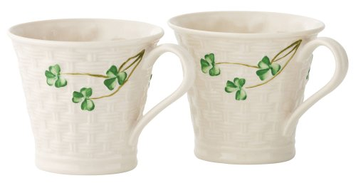 Belleek Shamrock Set of Two Mugs, 8 oz each (Shamrock Tea Set)