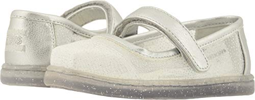 TOMS Kids Baby Girl's Mary Jane Disney¿ Princesses (Infant/Toddler/Little Kid) Silver Cinderella Glitter Mesh 10 M US -
