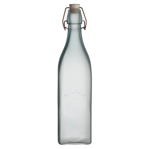 Kilner Frosted Glass Clip Top Bottle Designed to Preserve Oils and Juices, Traditional Swing Locking System Logo, Variety Sizes and Colors, 34-Fluid Ounces, Blue ()