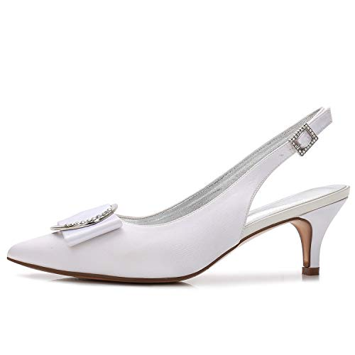 Frauen Satin Heels Low Kreuz Elobaby Schnalle Plattform Schuhe Mitte High 6cm Ferse Hochzeit Heels Ferse Seide gx5w0Cd0q