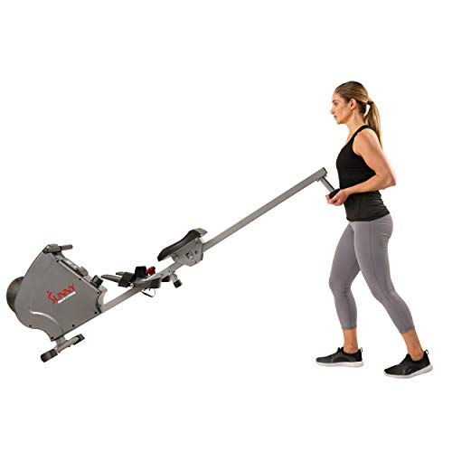 Sunny Health & Fitness SF-RW5856 Magnetic Rowing Machine Rower, 11 lb. Flywheel and LCD Monitor with Tablet Holder, Gray by Sunny Health & Fitness (Image #10)
