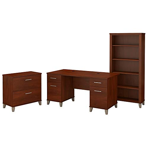 Bush Furniture Somerset 60W Office Desk with Lateral File Cabinet and 5 Shelf Bookcase in Hansen Cherry