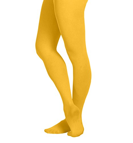 EMEM Apparel Women's Ladies Solid Colored Opaque Dance Ballet Costume Microfiber Footed Tights Stockings Fashion Gold Yellow B