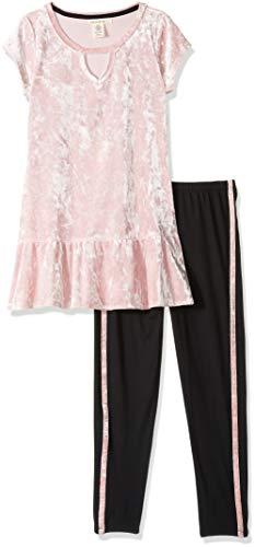 One Step Up Girls' Big 2 Pc Knit Top and Legging Set, Rose Velvet 7/8