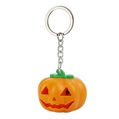Matoen Halloween Pumpkin Cartoon Keychain LED Light Sound Keyfob Kids Glowing Small Toy (A, Orange) -