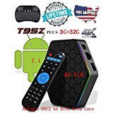 Android 7.1 TV BOX Amlogic S912 Octa Core 3GB/32GB Dual Band Wifi 2.4GHz/5.0GHz 4K HD Streaming Media Player Kodi 17.6 with Wireless Battery-Free Mini Keyboard