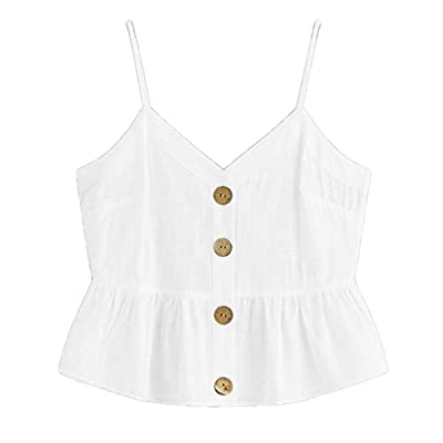 Dylanlla Cami Crop Top, Womens Fashion Sleeveless Solid Color Camisole Vest Tops Button Front Knot Hem Cami Tank Top at  Women's Clothing store