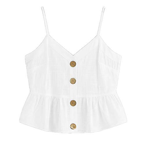HIRIRI Women's Button Down V Neck Strappy Crop Tank Top Loose Casual Sleeveless Shirts Blouses White