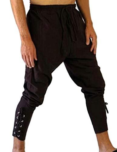 Wofupowga Mens Modern Tapered Pleated Jogging Strings Lace Up Pants Trousers Brown X-Small