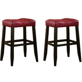 MAN Cave 2 29″ Red Cushion Saddle Back Bar Stools W Black Legs For Sale