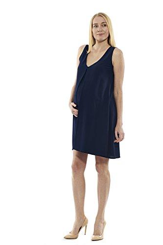 motherway - Vestido - trapecio - Sin mangas - para mujer azul marino