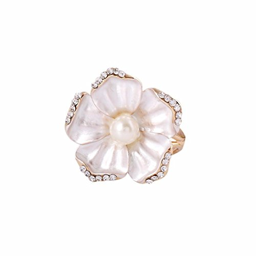Usstore 1PC Women Lady Special Flowers Pearl Corsage Camellia Brooch Scarf Buckle Brooch Jewelry Decorate Gift (White)
