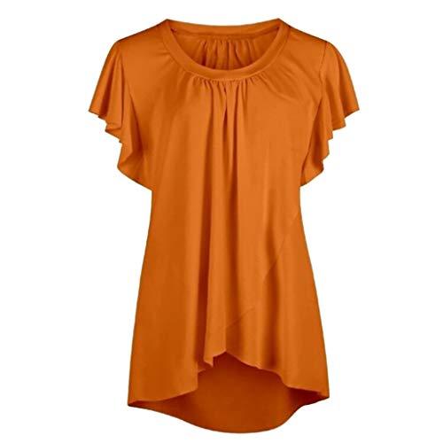 YEZIJIN Women's Fashion Ruffle Shirt Vest Dew Shoulder Crop Summer Blous 2019 New Best Women Wear Orange ()