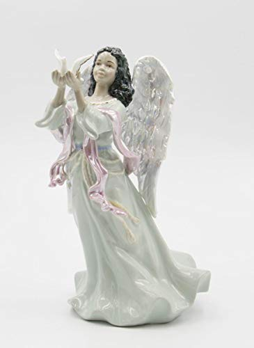 96571 Fine Porcelain Inspirational African American Peace Angel Releasing Dove Musical Figurine Music Tune Amazing Grace , 9-1 8 H