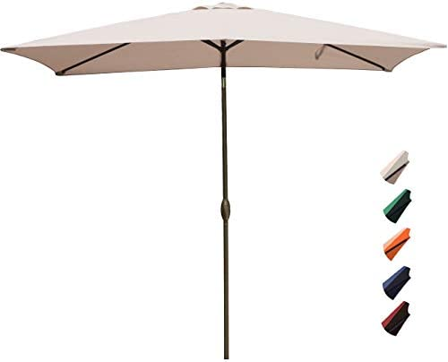 RUBEDER Rectangular Patio Umbrella – 6.6 by 10 Ft Outdoor Market Table Umbrellas with Push Button Tilt and Crank Lift,6 Sturdy Square Ribs 6.6 by 10 Ft, Beige