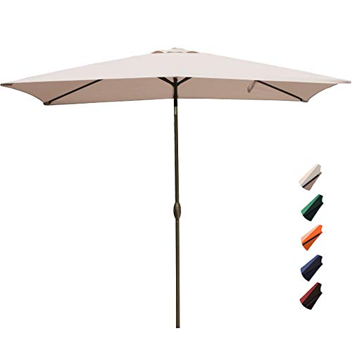 RUBEDER Rectangular Patio Umbrella - 6.6 by 10 Ft Outdoor Market Table Umbrellas with Push Button Tilt and Crank Lift,6 Sturdy Square Ribs (6.6 by 10 Ft, Beige)
