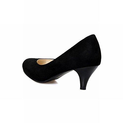 ... Latasa Femmes Mode Nubuck Mi-talon Chaussures Décontractées Chaussures  Noir ...