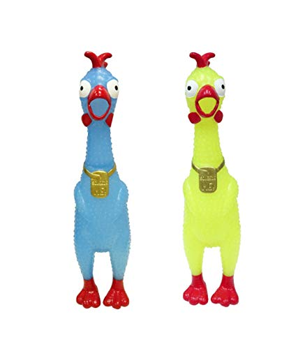 Rubber Chickens In Bulk (Animolds Squeeze Me Glow in The Dark Rubber Chicken Toy | Screaming Rubber Chickens for Kids | Novelty Squeaky Toy Chicken 2-Pack (Random)