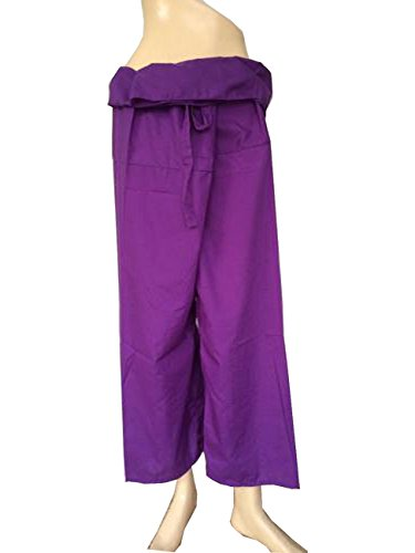 Rayon Fabric Solid Purple Color Yoga Trousers Thai Fisherman Pants Lululemon Pants Free Size by Thai cotton