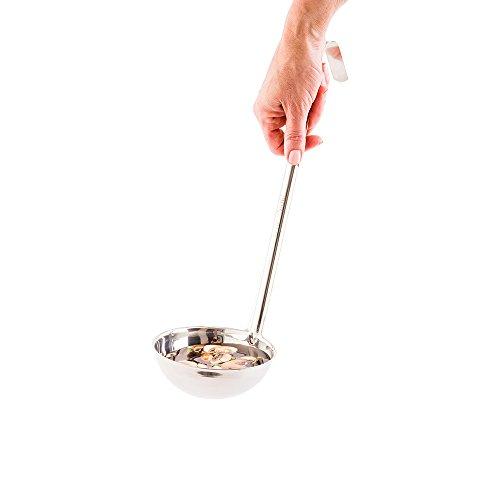 Stainless Steel Serving Ladle, Serving Spoon - Hook Handle - Heavy Duty, Commercial Grade - 12 oz - 1ct Box - Met Lux - Restaurantware
