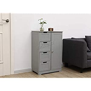 WestWood Free Standing Grey Wooden 4 Drawer 2 Shelves Bathroom Storage Cupboard Cabinet With one Door Organizer Unit FH…