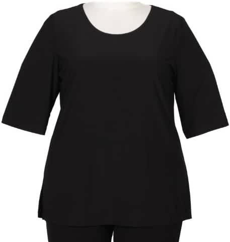 Black 3/4 Sleeve Round Neck Pullover Top Woman's Plus Size Top