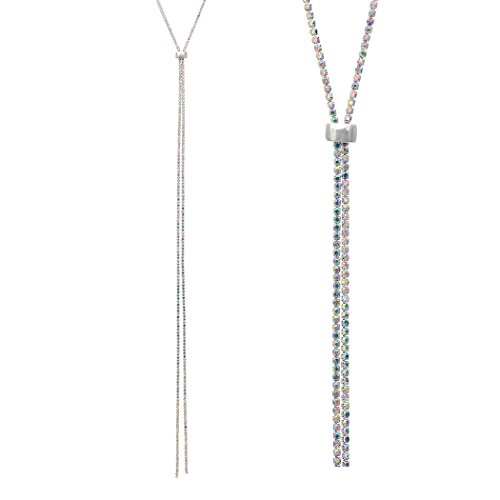 Rosemarie Collections Women's Elegant Glass Rhinestone Bolo Style Adjustable Necklace (Silver/Aurore (Boreal Glass)