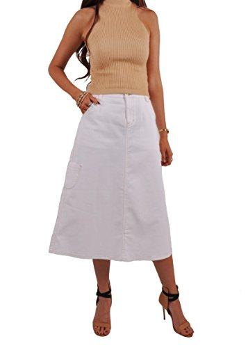 Long Cargo Skirt - Style J Cute Cargo White Denim Skirt-White-34(14)