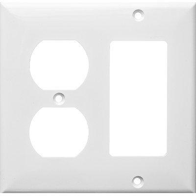 Morris 81251 Lexan Wall Plate, 2 Gang, 1 Decorative, 1 Duplex, White