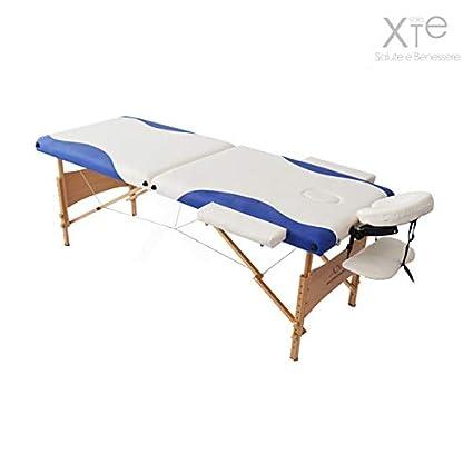 Lettino Da Massaggio 2 Sezioni In Legno Portatile Bicolor Blu