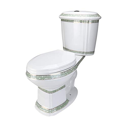 Renovator's Supply India Reserve Two-Piece Elongated Dual Flush White ADA Porcelain Toilet Push Button Green And Gold Design Includes Toilet Seat