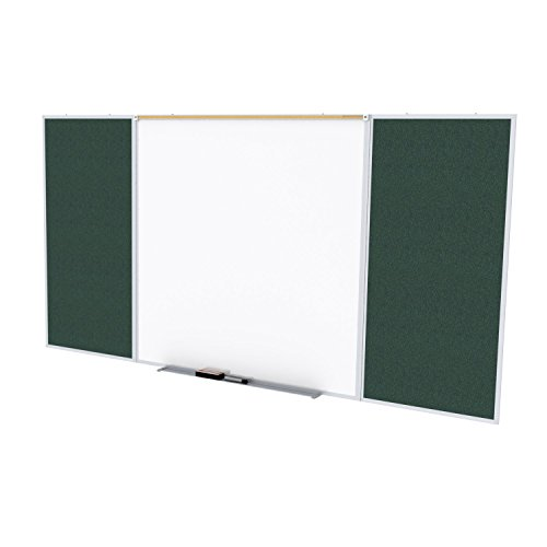 Ghent Style D 4 x 12 Feet Combination Board, Porcelain Magnetic Whiteboard and Vinyl Fabric Bulletin Board, Ebony , Made in the USA by Ghent