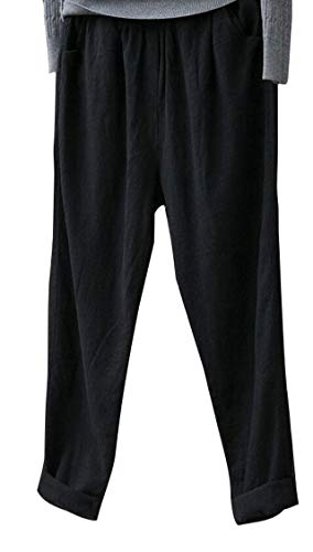 Soojun Womens Cotton Linen Loose Fit Elastic Waist Harm Pant, Upgrade Black, X-Large