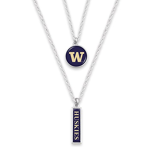 Round Nameplate - FTH Washington Huskies Silver Tone Double Charm Necklace with Round Logo and Nameplate Charms