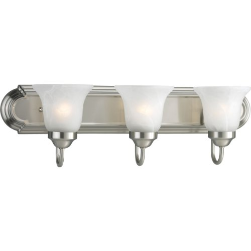 Progress Lighting P3053-09EBWB 3-Light Energy Star Bath Compact Fluorescent with Etched Alabaster Shades and an Elongated Racetrack-Style Backplate, Brushed Nickel
