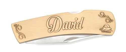 Antique Blade Custom Brass (DKC-1000-B DAVID Personalized Name Knife Custom Hand Engraved Minted In Antique Brass 4.5 oz 6.75