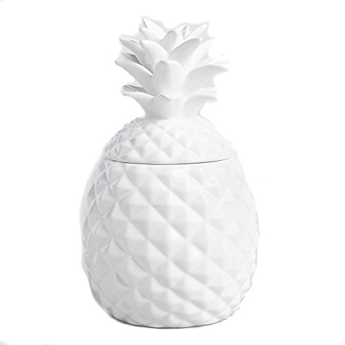 Ceramic Airtight Pineapple Cookie Jar Storage Container Large - White (White Cookie Jars)