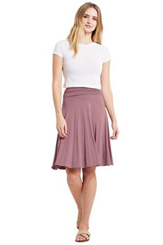 Poshsquare Women's Fold Over High Waist Comfy Stretch Rayon Spandex Knee Length Skirt USA Mauve L (Spandex Skirt Rayon)